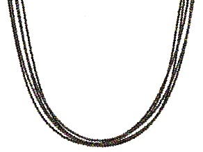 Multi-Color Black Spinel Rhodium Over Sterling Silver Necklace 2mm