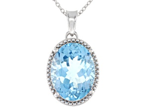 Sky Blue Topaz Rhodium Over Sterling Silver Pendant W/ Chain 20.50ctw