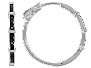 Black Spinel Rhodium Over Sterling Silver Hoop Earrings .26ctw