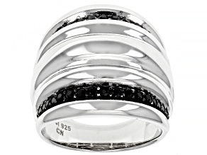 Black Spinel Rhodium Over Sterling Silver Ring .43ctw