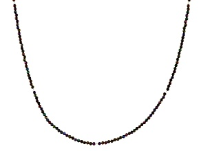 Multi-Color Black Spinel Rhodium Over Sterling Silver Necklace 2.5mm
