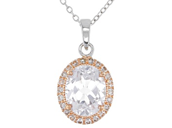 Picture of White Lab Created Sapphire 18k Rose Gold Over Silver Pendant With Chain 3.33ctw