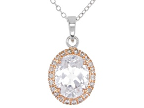 White Lab Created Sapphire 18k Rose Gold Over Silver Pendant With Chain 3.33ctw
