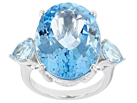 Sky Blue Topaz Rhodium Over Sterling Silver Ring 22.20ctw