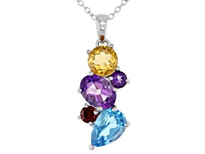 Multi-Gemstone Rhodium Over Sterling Silver Dangle Pendant With Chain 3.41