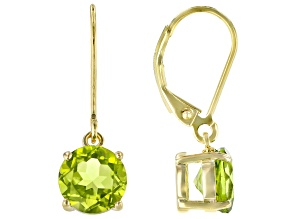 Green Peridot 18k Yellow Gold Over Sterling Silver Solitaire Earrings 4.50ctw