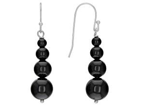Black Agate Rhodium Over Sterling Silver Dangle Earrings