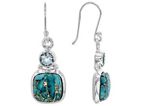 Blue Turquoise Sterling Silver Earrings.