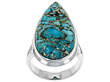Picture of Blue Turquoise Sterling Silver Ring.