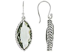Green Prasiolite Sterling Silver Earrings. 9.50ctw