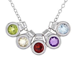Multi-Gemstone Rhodium Over Sterling Silver Necklace 1.22ctw