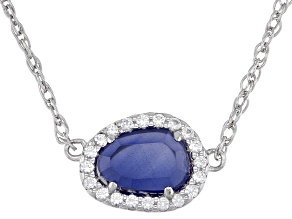 Blue Lab Created Sapphire Rhodium Over Sterling Silver Necklace 1.15ctw