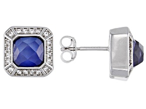 Blue Lab Created Rhodium Over Sterling Silver Stud Earrings 3.02ctw
