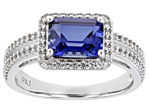 Blue Lab Created Sapphire Rhodium Over Sterling Silver Ring 2.47ctw