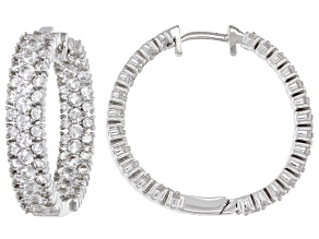 White Lab Created Sapphire Rhodium Over Sterling Silver Hoop Earrings  3.77ctw