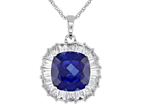Blue Lab Created Sapphire Rhodium Over Silver Pendant With Chain 5.40ctw