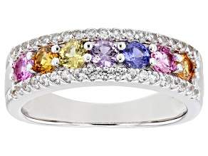Multi-Color Lab Created Sapphire Rhodium Over Sterling Silver Ring 1.36ctw