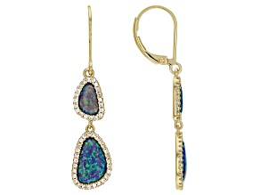 Blue Lab Created Opal 18k Yellow Gold Over Sterling Silver Dangle Earrings 0.61ctw
