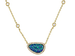 Blue Lab Created Opal 18k Yellow Gold Over Sterling Silver Necklace 0.39ctw