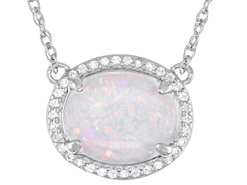 Picture of White Lab Created Opal Rhodium Over Sterling Silver Necklace 0.22ctw