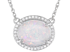 White Lab Created Opal Rhodium Over Sterling Silver Necklace 0.22ctw