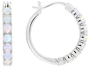 White Lab Created Opal Rhodium Over Sterling Silver Hoop Earrings 0.88ctw