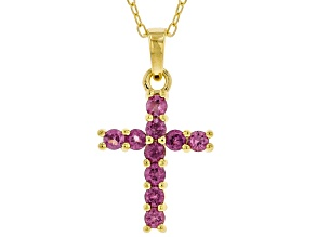 Purple Rhodolite 18k Yellow Gold Over Sterling Silver Pendant With Chain 0.50ctw