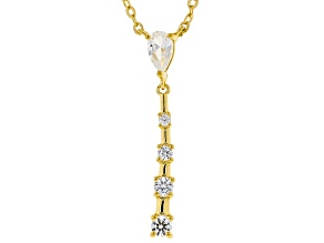 White Lab Created Sapphire 18k Yellow Gold Over Sterling Silver Necklace .42ctw