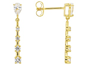 White Lab Created Sapphire 18k Yellow Gold Over Sterling Silver Dangle Earrings .82ctw
