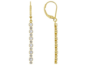 Picture of White Lab Created Sapphire 18k Yellow Gold Over Sterling Silver Dangle Earrings 1.79ctw