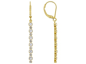 White Lab Created Sapphire 18k Yellow Gold Over Sterling Silver Dangle Earrings 1.79ctw