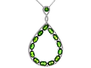 Green Chrome Diopside Rhodium Over Sterling Silver Pendant with Chain. 3.15ctw