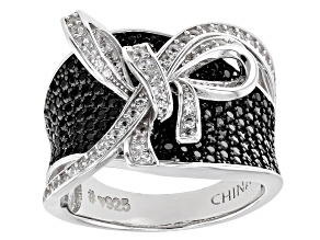 Black Spinel Rhodium Over Sterling Silver Ring. 2.28ctw
