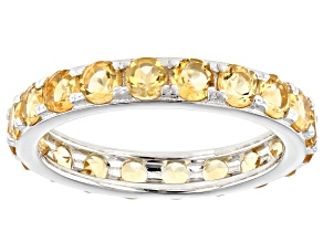 Citrine Rhodium Over Sterling Silver Eternity Band Ring 2.64ctw