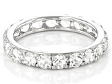 White Crystal Quartz Rhodium Over Sterling Silver Eternity Band Ring 1.95ctw
