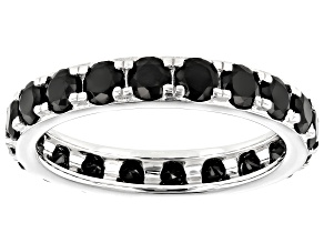 Black Spinel Rhodium Over Sterling Silver Eternity Band Ring 2.64ctw