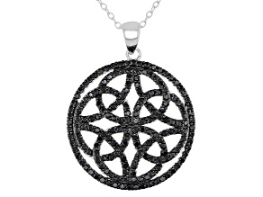 Black Spinel Rhodium Over Sterling Silver Pendant W/ Chain 1.35ctw