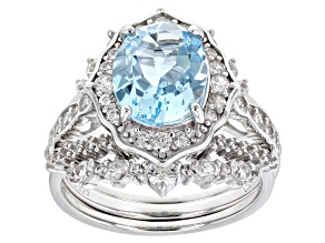 Sky Blue Topaz Rhodium Over Sterling Silver Ring Set. 5.02ctw