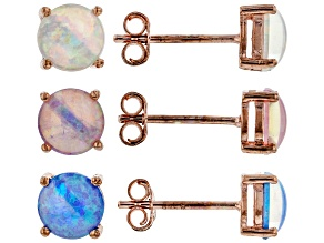 White, Pink, and Blue Lab Created Opal 18k Rose Gold Over Silver Set of 3 Stud Earrings 6mm Round