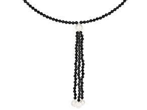 Black Spinel Stainless Steel Wire Beaded Necklace.