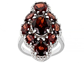 Red Vermelho Garnet™ Rhodium Over Sterling Silver Ring 5.25ctw
