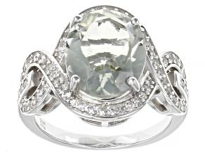 Green Prasiolite Rhodium Over Sterling Silver Ring 4.25ctw