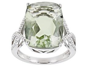 Green Prasiolite Rhodium Over Sterling Silver Ring 8.00ct