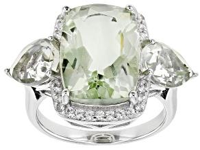 Green Prasiolite Rhodium Over Sterling Silver Ring 7.90ctw