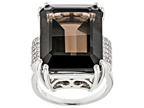 Brown Smoky Quartz With Rhodium Over Sterling Silver Ring 17.75ctw