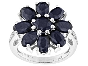 Blue Sapphire Rhodium Over Sterling Silver Ring. 5.59ctw