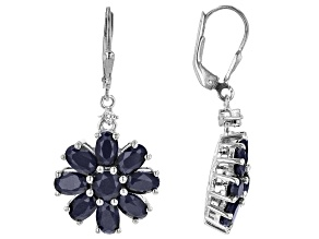 Blue Sapphire Rhodium Over Sterling Silver Earrings. 11ctw