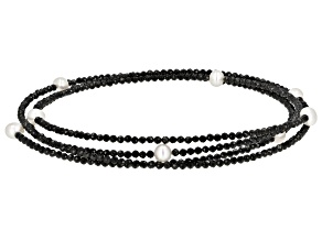 Black Spinel Beaded Stainless Steel Wrap Necklace