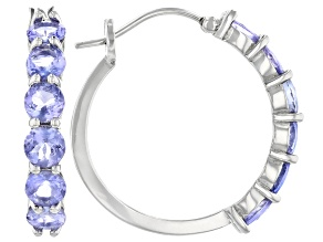 Blue Tanzanite Rhodium Over Sterling Silver Hoop Earrings 4.50ctw