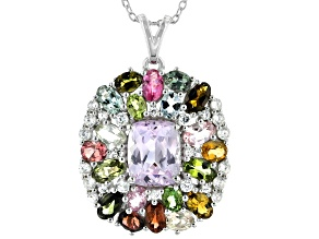 Pink Kunzite Rhodium Over Sterling Silver Pendant With Chain. 8.85ctw